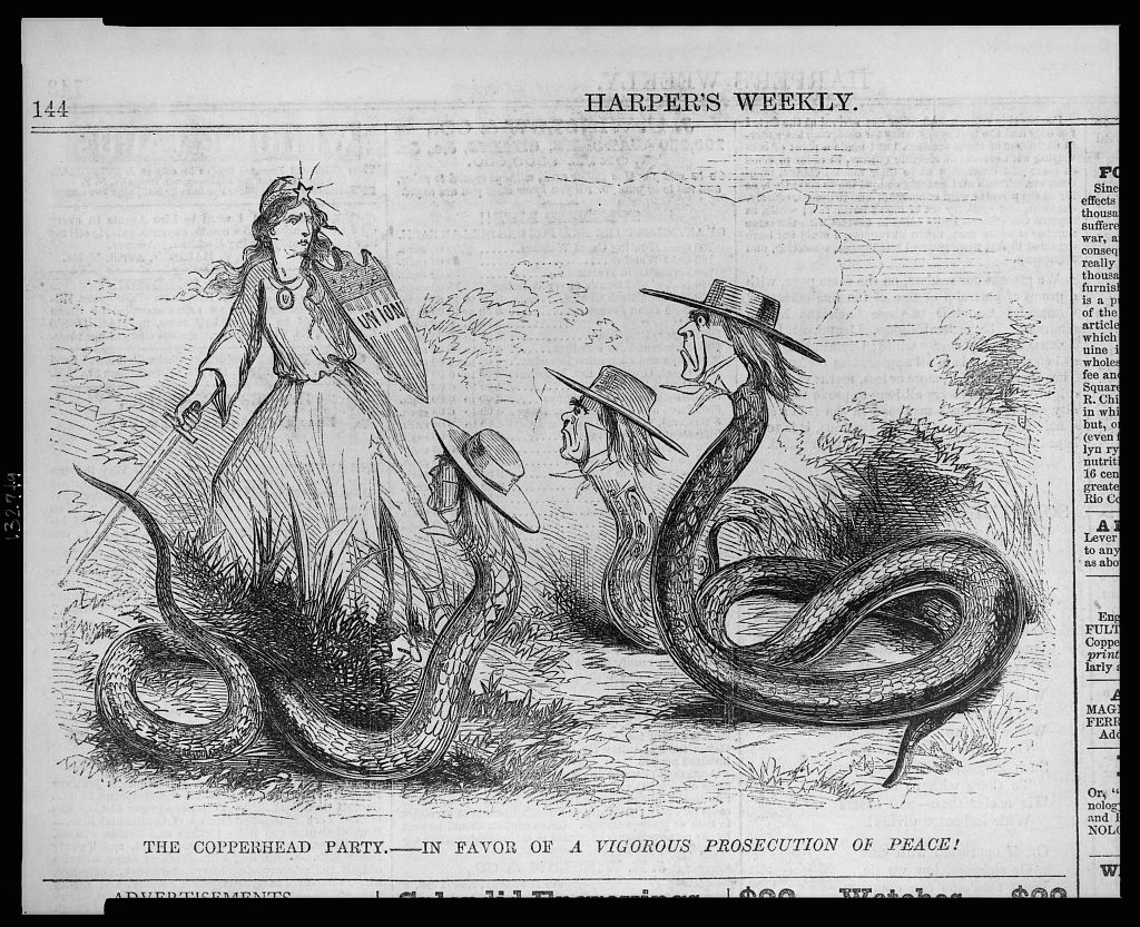 """Harper's weekly  Lampoons Democratic Copperheads, denouncing them as a """"Party in FAvor of a  Vigorous Prosecution of PEace !"""""""