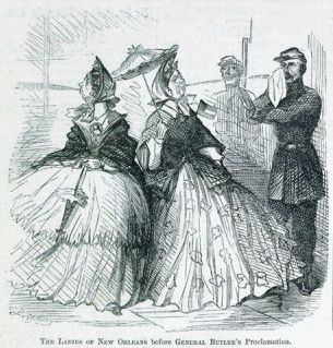 This cartoon from another occupied town, new orleans, show women spitting at union soldiers.