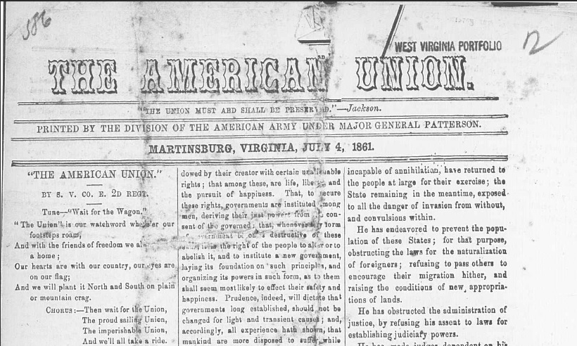 The first issue of the  American Union ; note the song in the left sidebar was written by Private Samuel J. Vandersloot, 2nd PA Infantry, of Gettysburg, PA.
