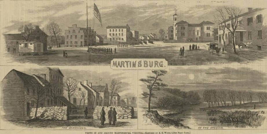 "Martinsburg, depicted here in 1864, changed hands thirty-seven times during the war. A Northern reporter wrote in '64: ""Its streets have been trampled … the ruins of the depot buildings, and of houses burned in former attacks upon the town, give the usual air of desolation seen in border towns."""
