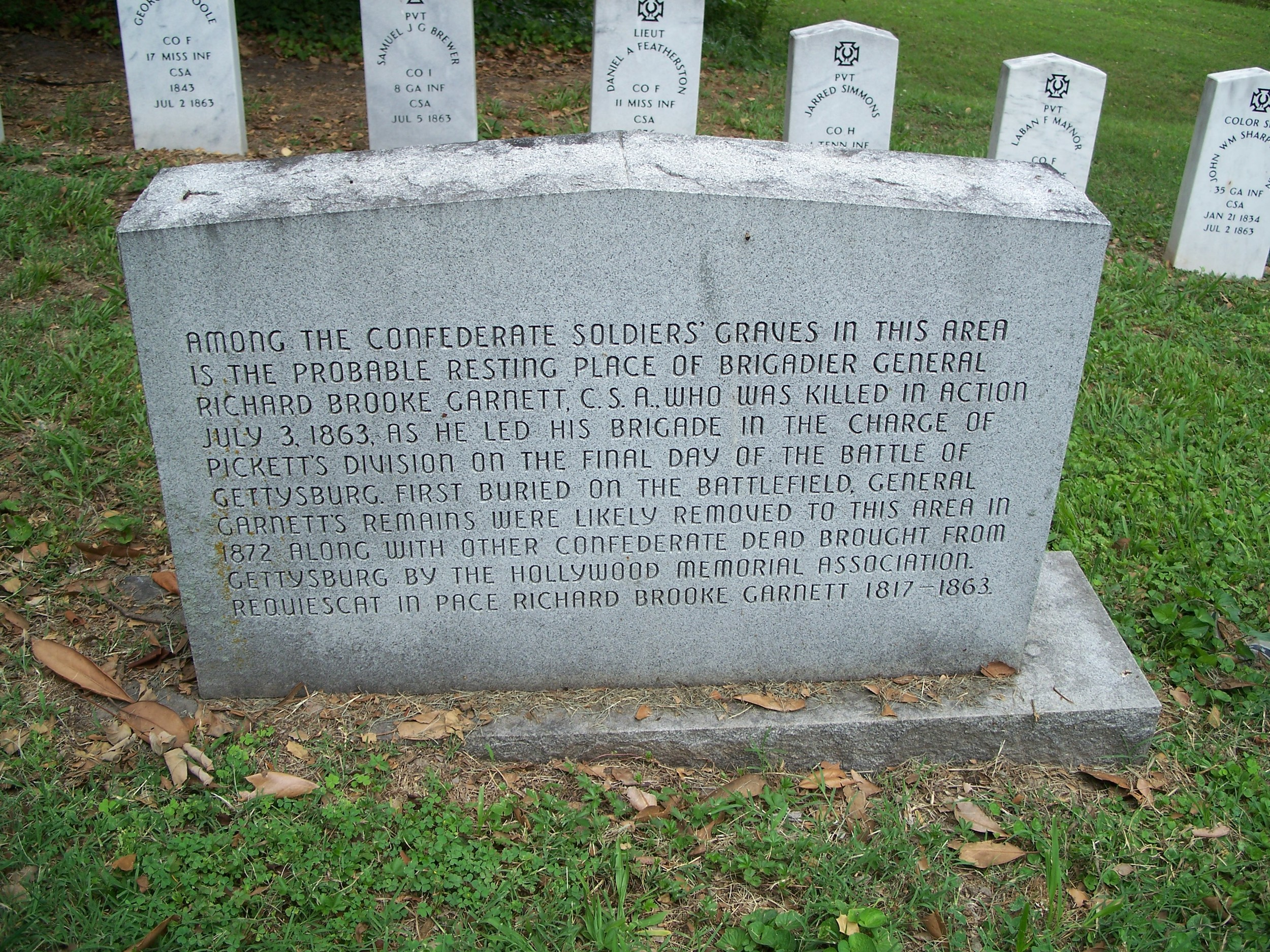 Garnett's body was never recovered or identified. this monument to the general stands in the confederate section of holywood cemetery where the remains of the gettysburg dead were brought after the war.