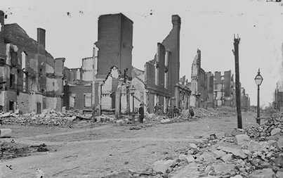 Portions of richmond were in ruined after the fires set by retreating confederates. these images would haunt confederates as the war ended.