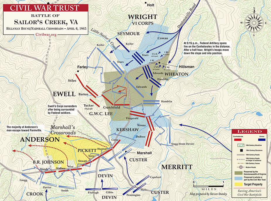 At the same time anderson and ewell face their own fight near the hillsman farm and marshall's crossroads.