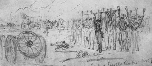this sketch by alfred waud depicts the surrender of ewell's troops at sailor's creek.