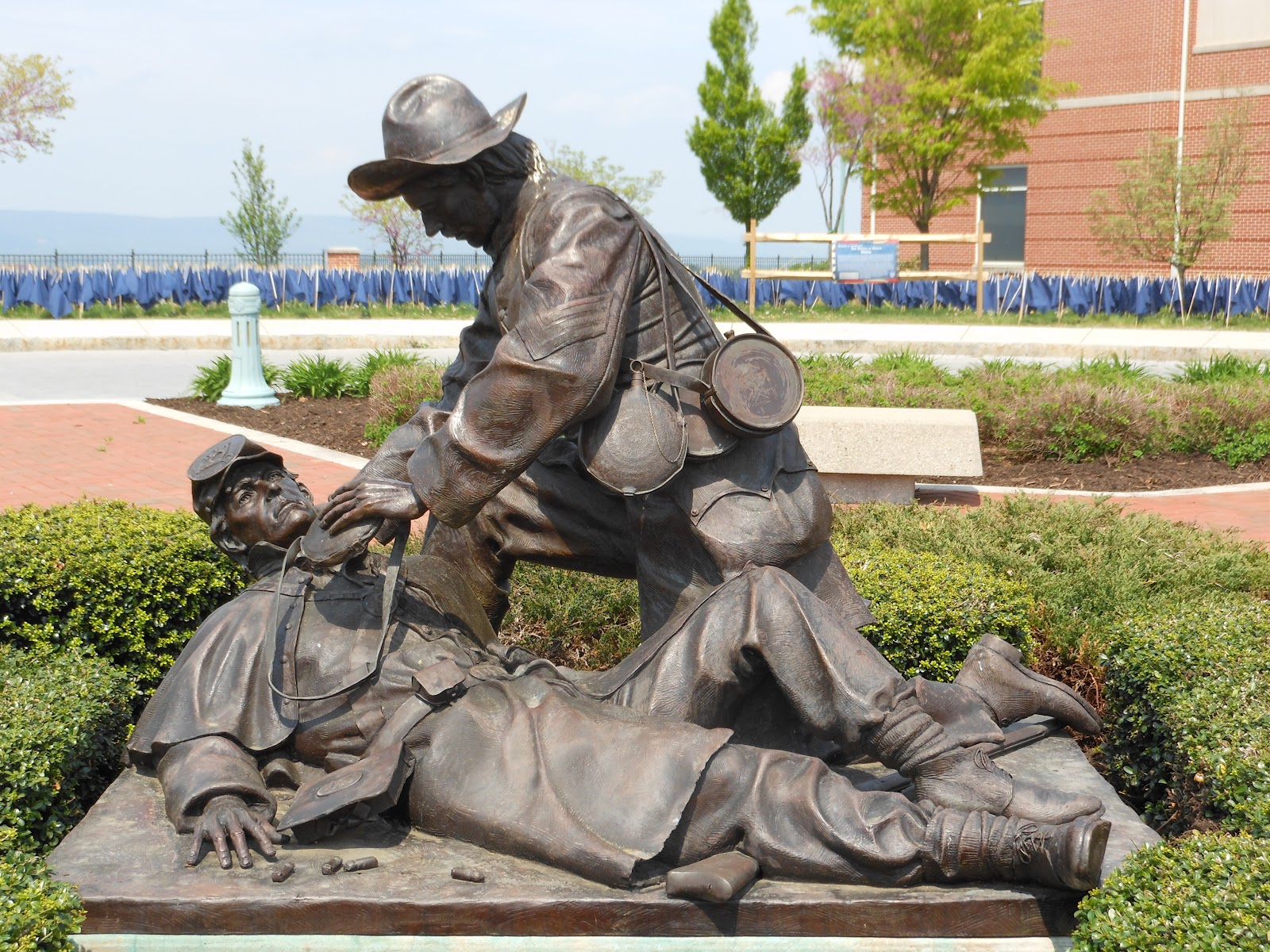 Monument to mercy stands in front of the national civil war museum.