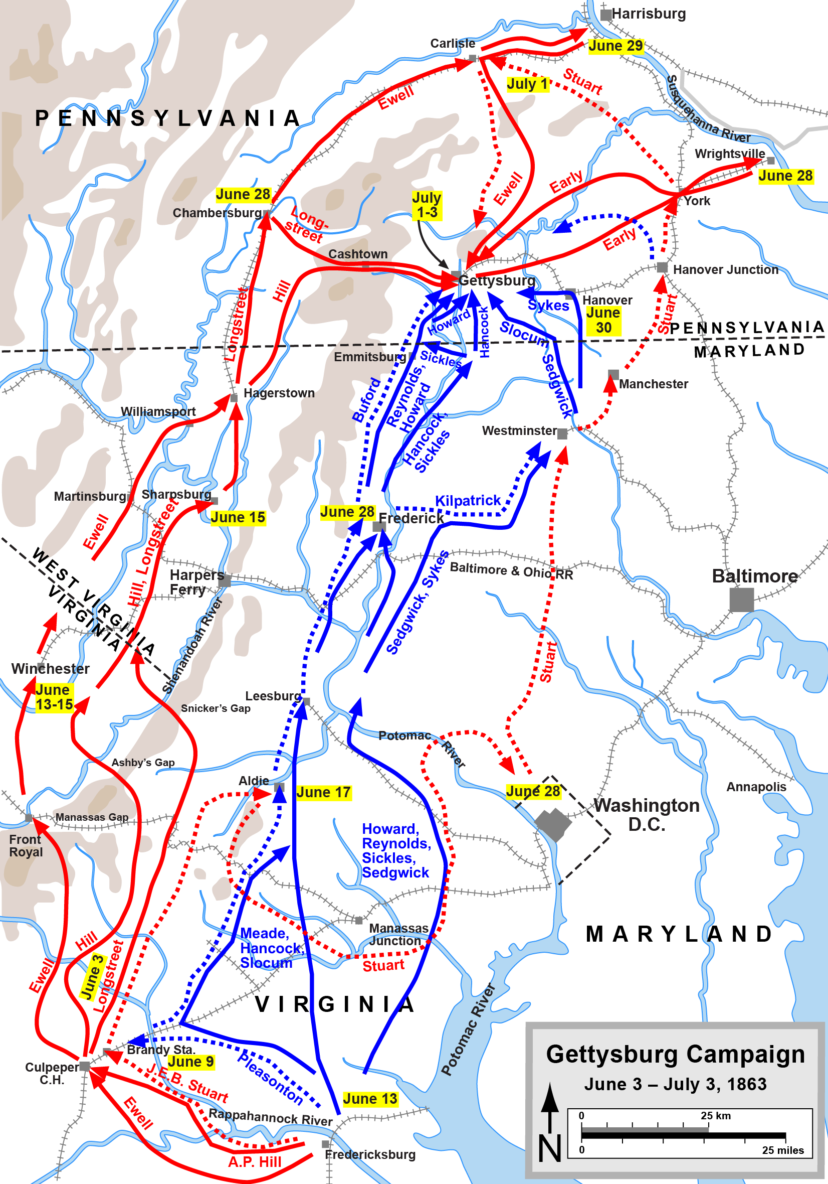 Map of Jeb Stuart's movements during the Gettysburg Campaign. Map courtesy of Hal Jespersen.