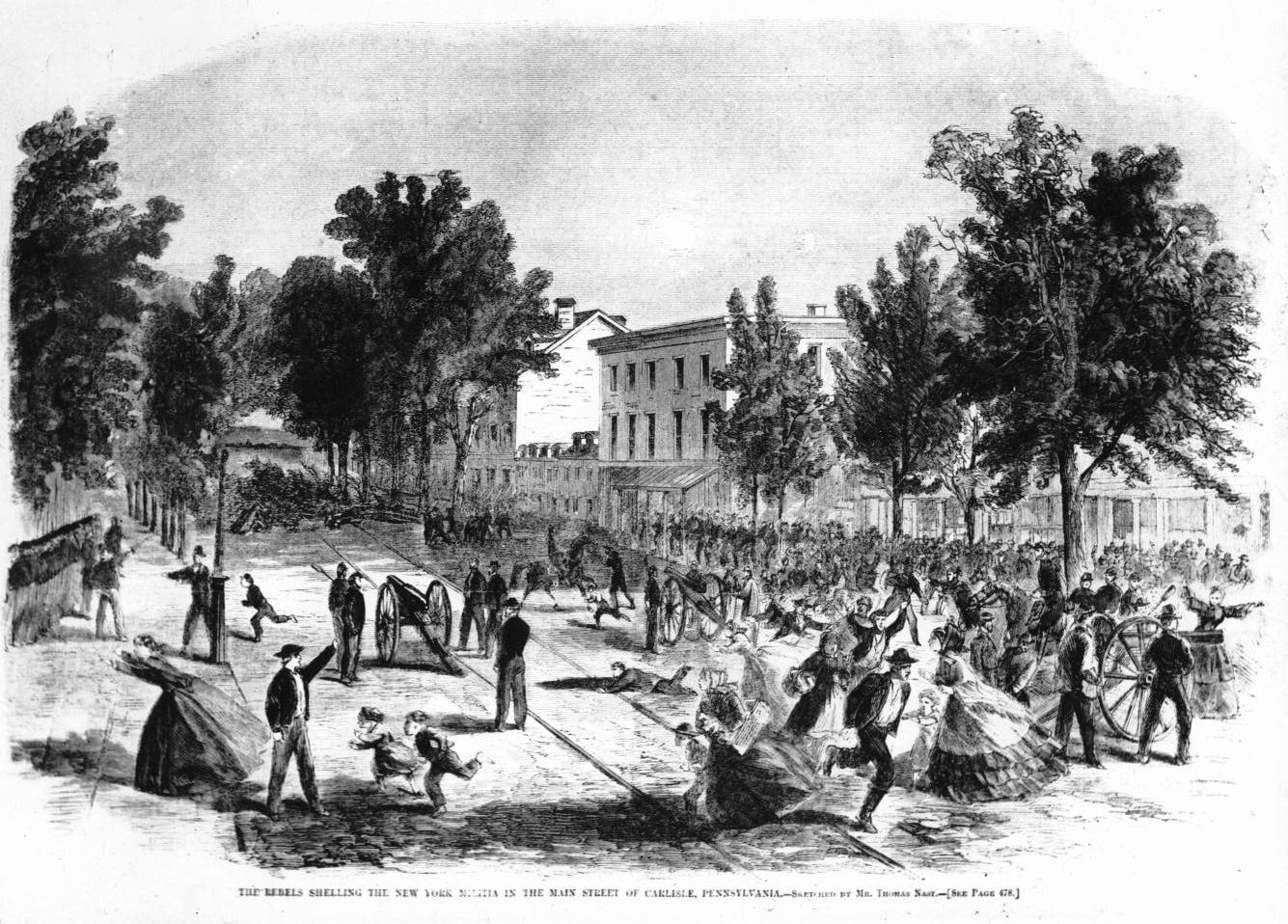 A  Harper's Weekly  etching of New York militia in the streets during Jeb Stuart's July 1st shelling of Carlisle, Pennsylvania