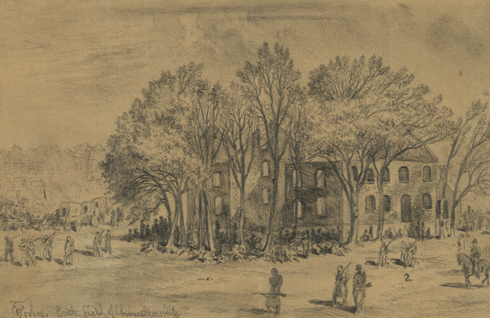 An Artist's sketch of the Chancellor House; It did not survive the Battle