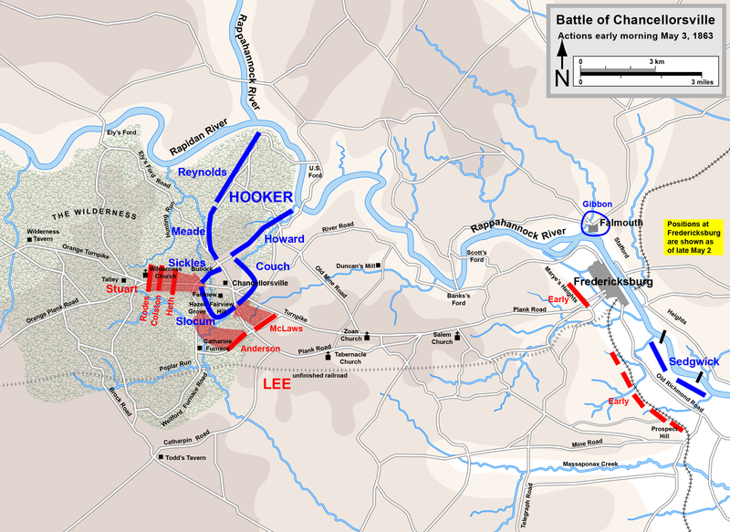 The Battle of Chancellorsville on the morning of May 3; Note the position of Gens. Meade's and Reynold's Corps. The Night prior, General Hooker intimated that he wanted to send those corps into battle; on May 3rd after his concussion, Hooker refused to do so