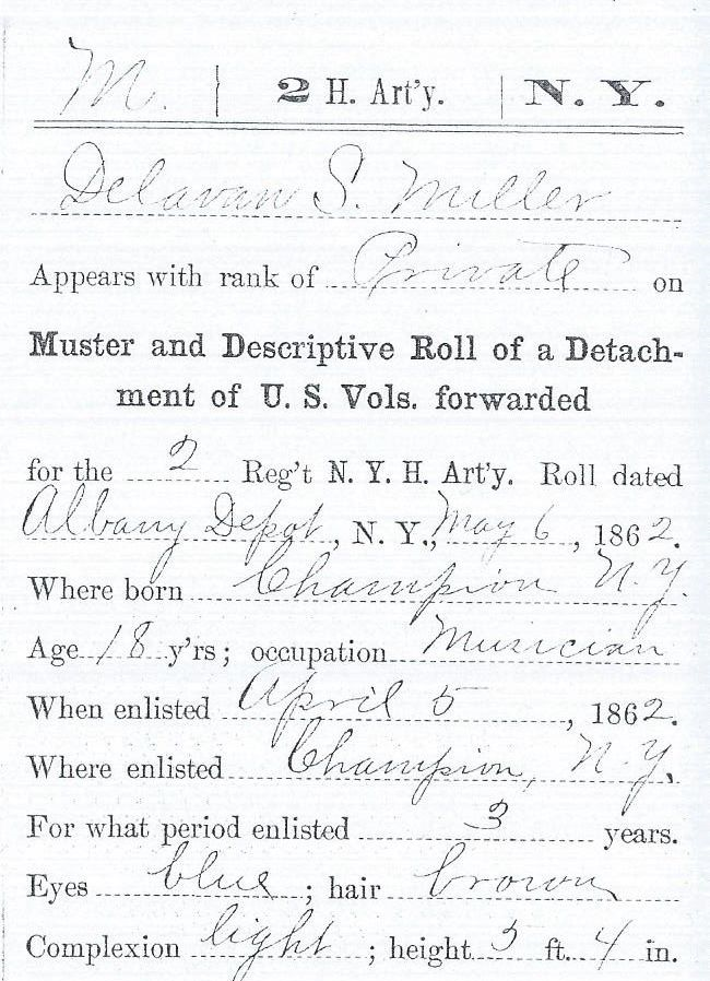 When delavan Miller enlisted in 1862 he listed his age as 18; later his records would correct his age.