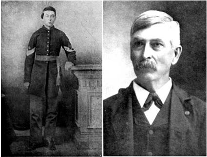 Leander Stillwell, pictured to the left as a private in the 61st Illinois and to the right as a post-war district judge.