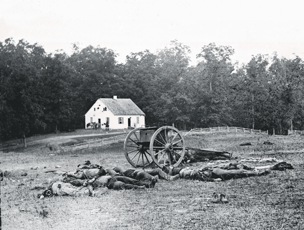 Dead dot the ground in front of the Dunker Church at Antietam, where a Union set back Confederate Fortunes