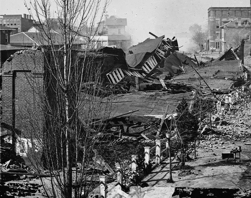 The fall of Atlanta, whose destroyed downtown depot is pictured here, helped ensure the 1864 reelection of Abraham LIncoln