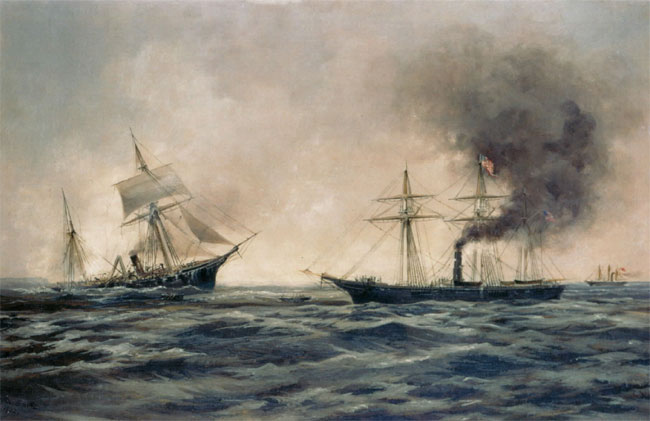 Xanthus Smith's  Sinking of the CSS Alabama  (1922) depicts the rebel ship battling the Uss  Kearsarge  of the coast of Cherbourg, france.  British-Built Commerce Raiders like the  Alabama  caused tensions between the United States and Great Britain.