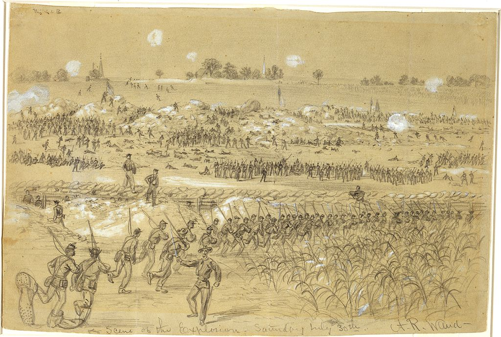 "Alfred Waud's depiction of the fighting around Petersburg's crater; Billy Mahone's action that day earned him the sobriquet ""hero of the Crater"""