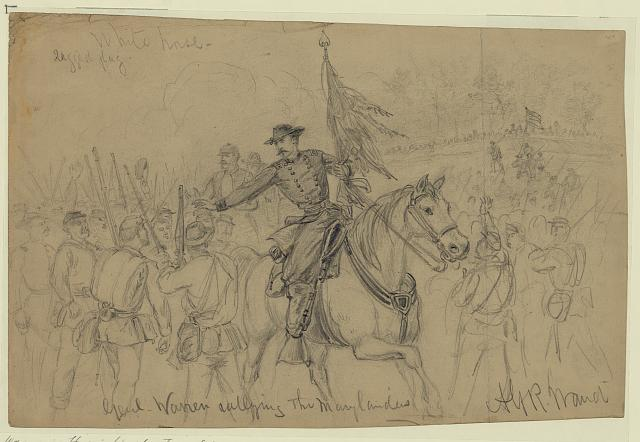General Warren tries to Rally his troops at laurel hill; sketch by Alfred waud (Library of Congress)