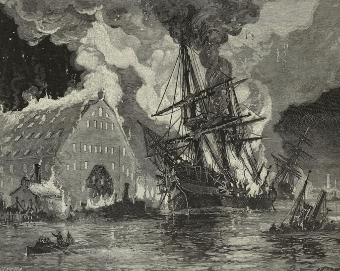 The U.S.S. Merrimack burns in the Norfolk Navy Yard in 1861; she would be resurrected and rechristened the C.S.S. Virgina by the Confederacy