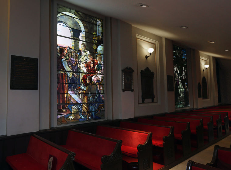 This stained glass window in St. Paul's Church in Richmond venerates Confederate President Jefferson Davis