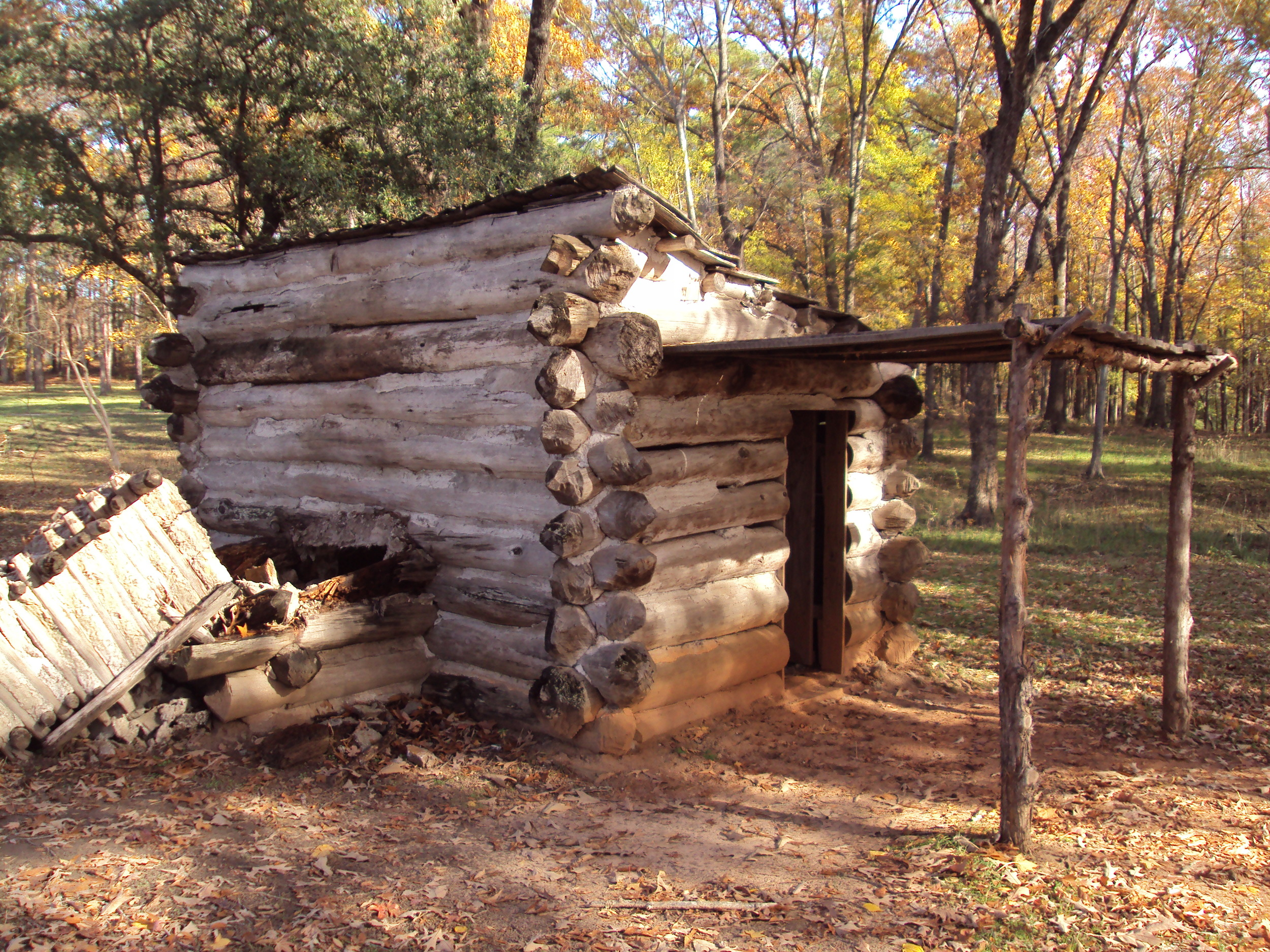 This reproduction cabin at Camp Ford today is modeled on Union Lieutenant Colonel J.B. Leake's wartime cabin.