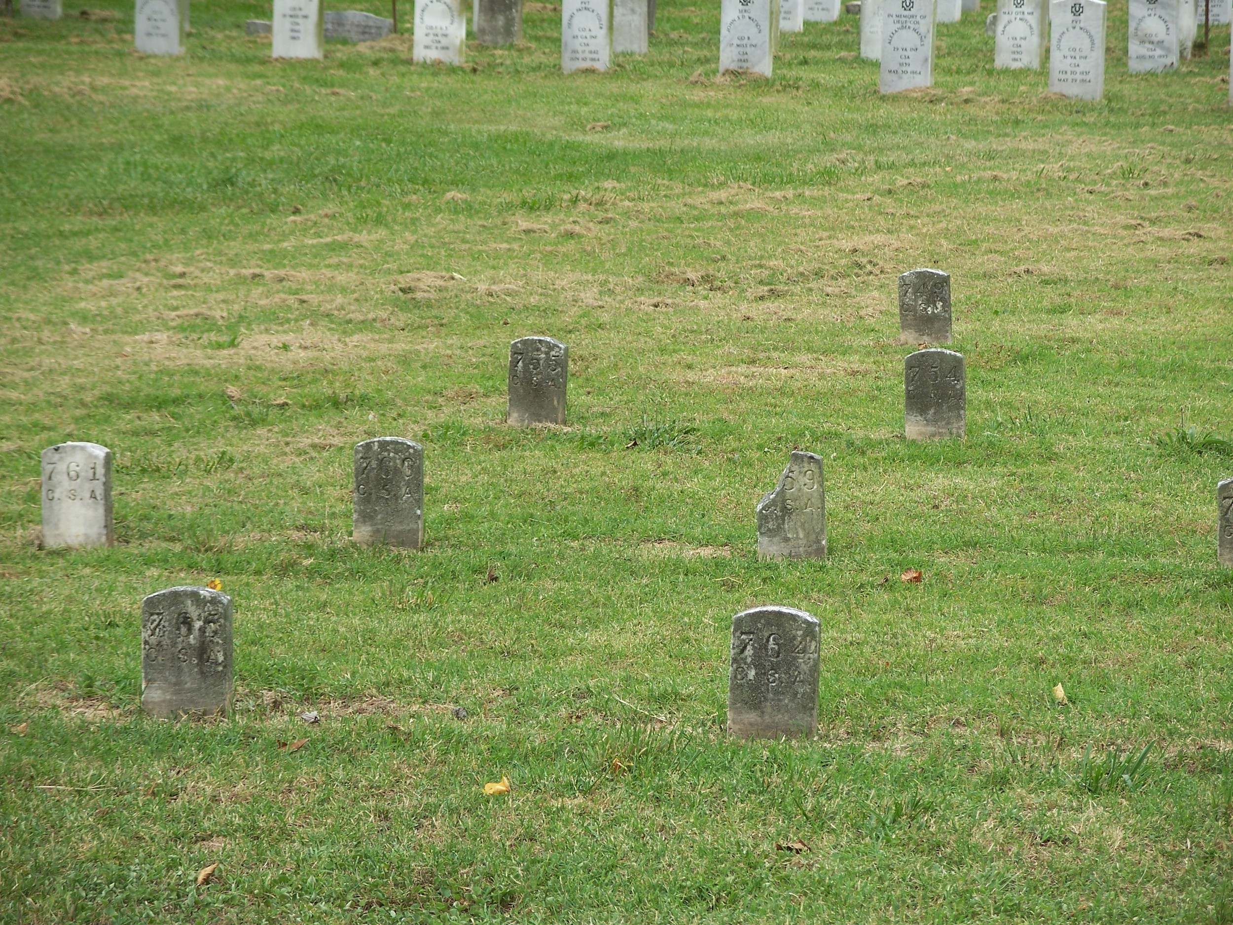 The Confederate section of Hollywood Cemetery contains a mixture of identified and unidentified graves.
