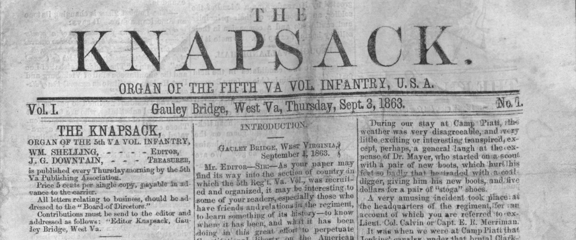 The Knapsack's Masthead. It appears the Regiment acquired the use of a printing press for $181.30 in order to publish the Knapsack weekly.