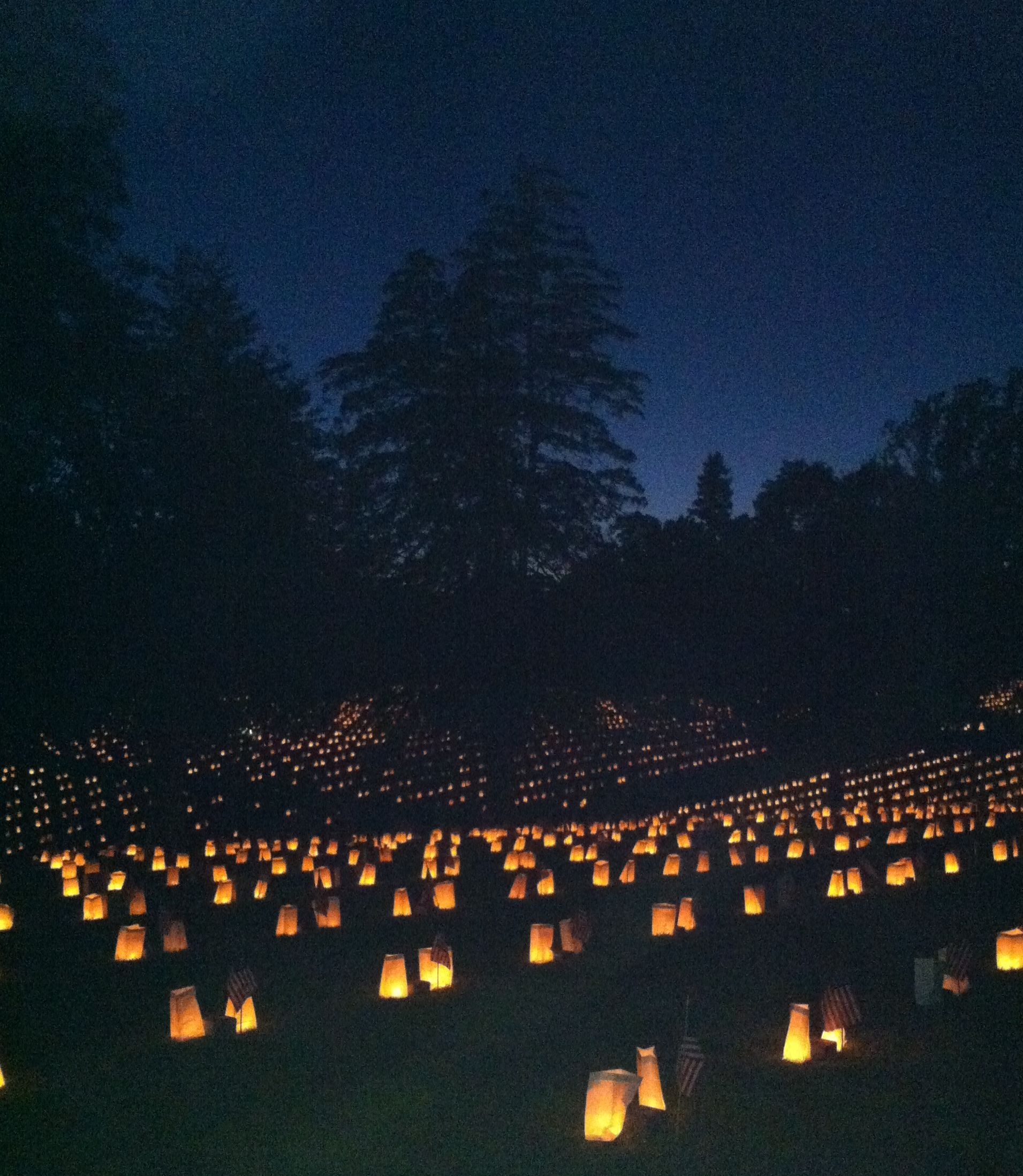 Every year Fredericksburg National Cemetery hosts a luminaria honoring the soldiers buried there.