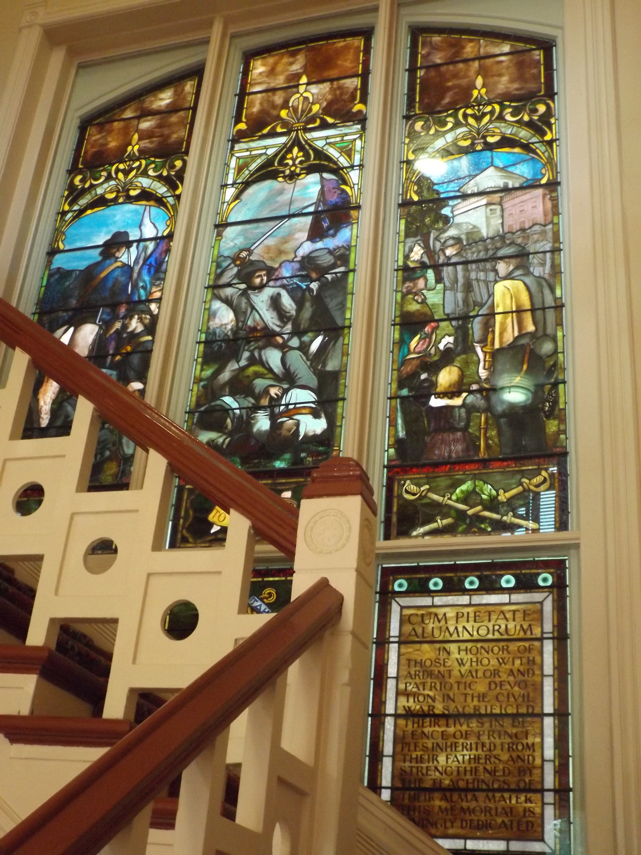 The Tiffany stained glass window in Ventress Hall commemorating the University Greys.