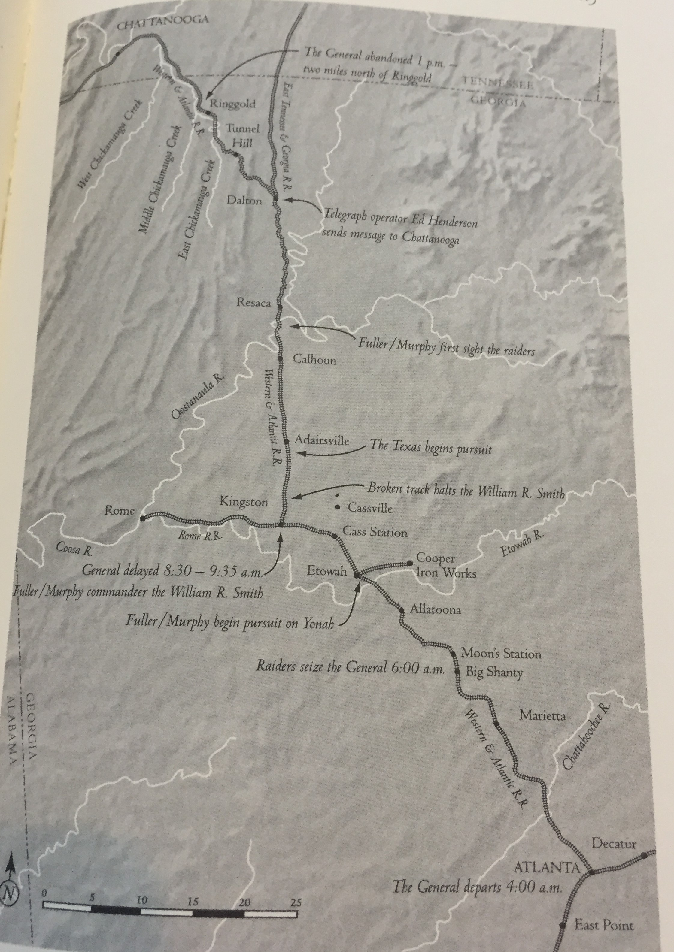 Route of the Andrews' Raid.  From Russell S. Bond's  Stealing the General , page 115.