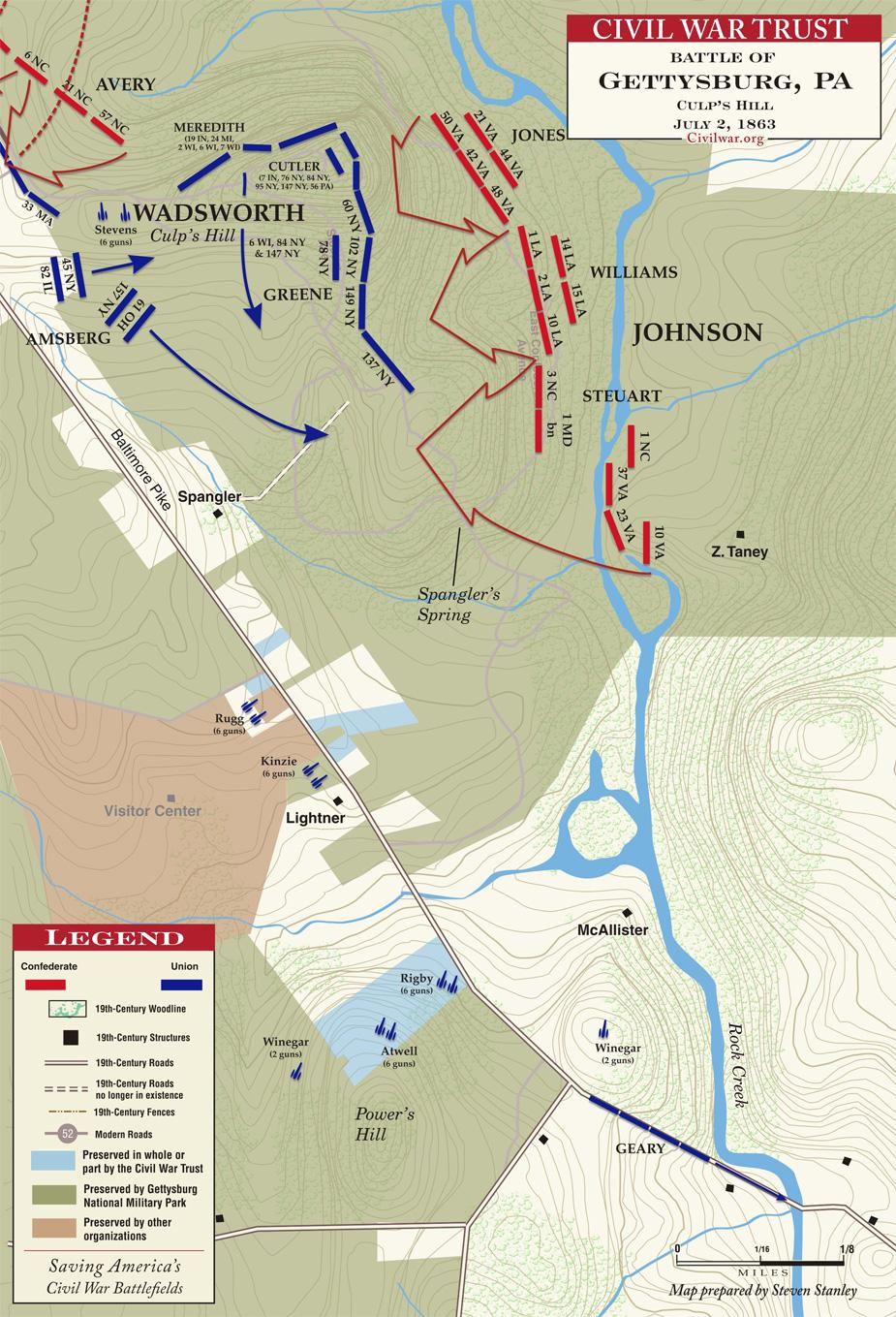 Culp's Hill at Gettysburg on July 2, 1863; note the position of 137th NY on the far right flank