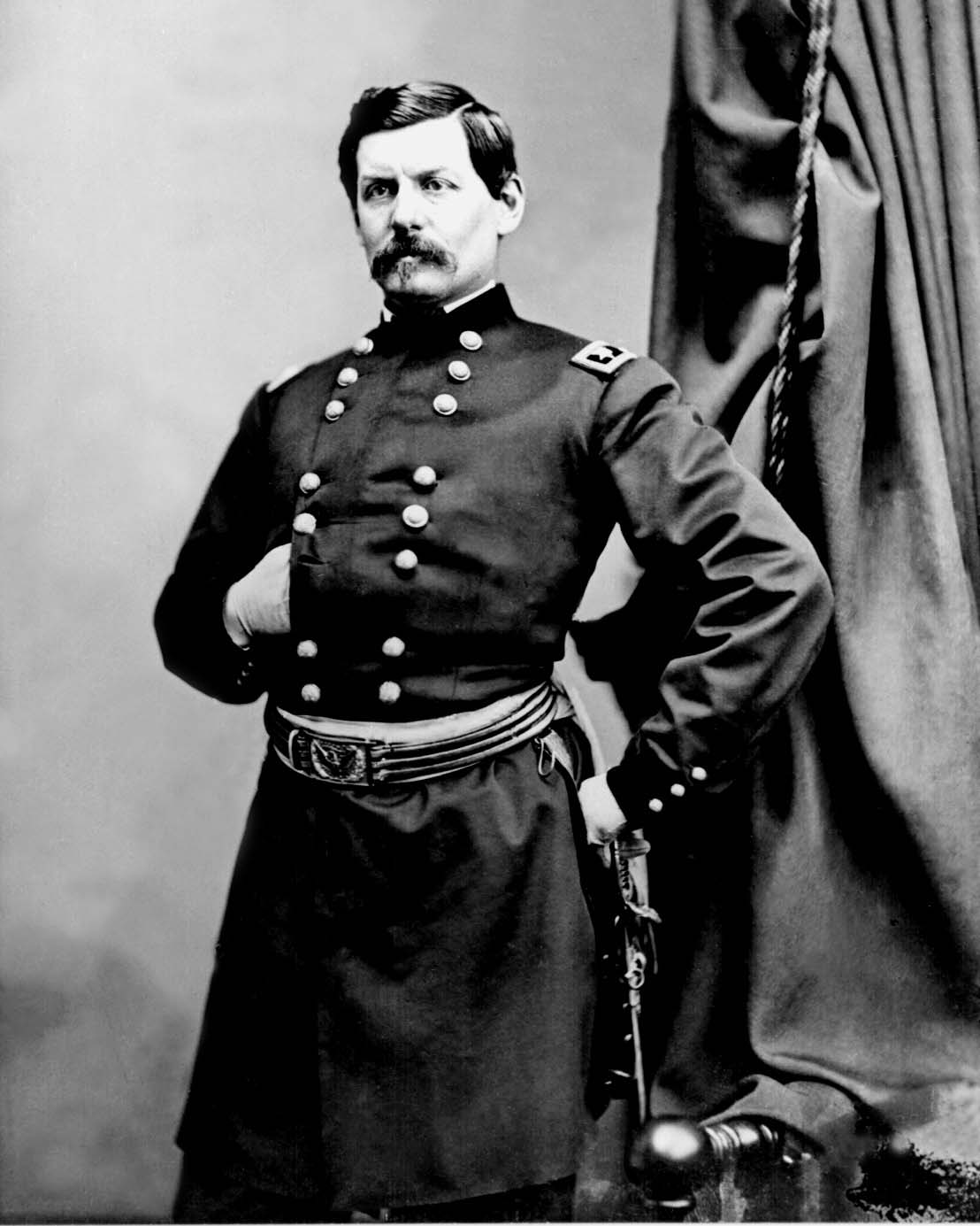 "Considered by Strother to be ""the Complete Soldiers,"" George McClellan is pictured here in this 1861 Brady Photograph"