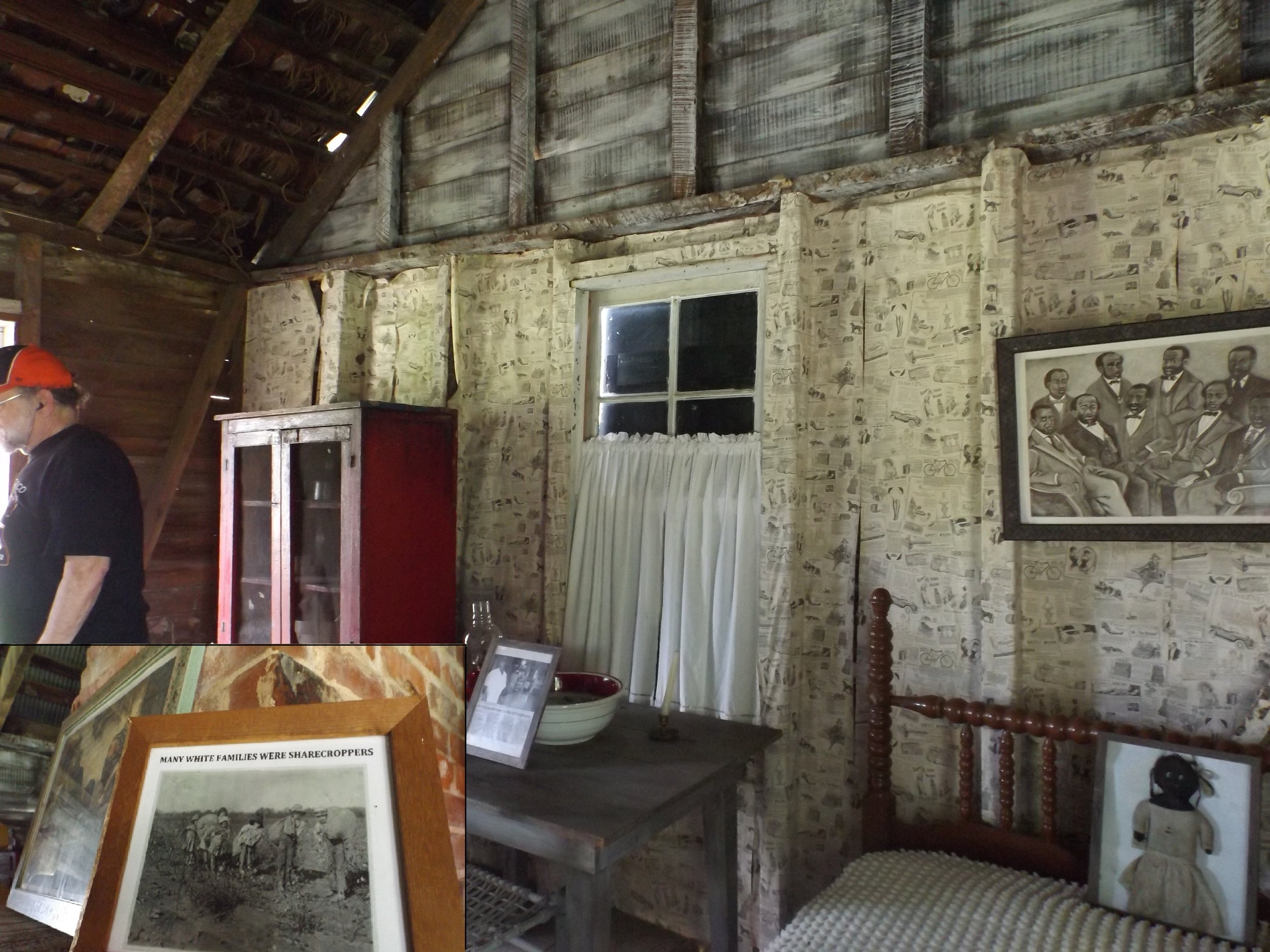 """Section of a cabin set up to portray living conditions during Reconstruction, with the """"white sharecropper"""" photo in insert."""
