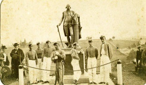 The George Washington Statue was Returned to VMI and is pictured here with several VMI Cadets IN 1866