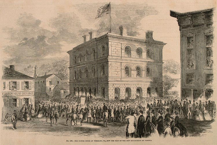 """This Sketch for  Leslie's Illustrated  From August, 1861 depicts the Custom House in Wheeling, WV. On the right is the edge of the Athenaeum, or """"Lincoln's Bastille"""","""" in which Baker and Long were imprisoned in 1864"""