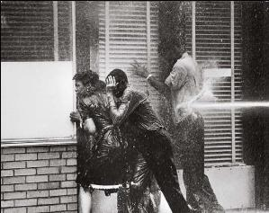 Protesters hit with fire hoses, May 3, 1963. Photo by Charles Moore.
