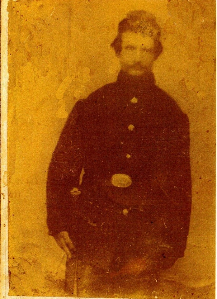 Private Ludwig Salzwedel, 9th Wisconsin Infantry, pictured here in Federal uniform. Photograph courtesy of Jerry Austin, Ludwig SAlzwedel's Ancestor.