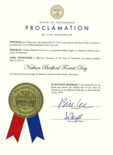 """The Governor's Proclamation honoring Forrest as """"A Recognized Military Figure in American History and a Native Tennessean."""" It's not more detailed because that's the only good thing you can really say.  (Courtesy of  News Channel 5, Nashville)"""