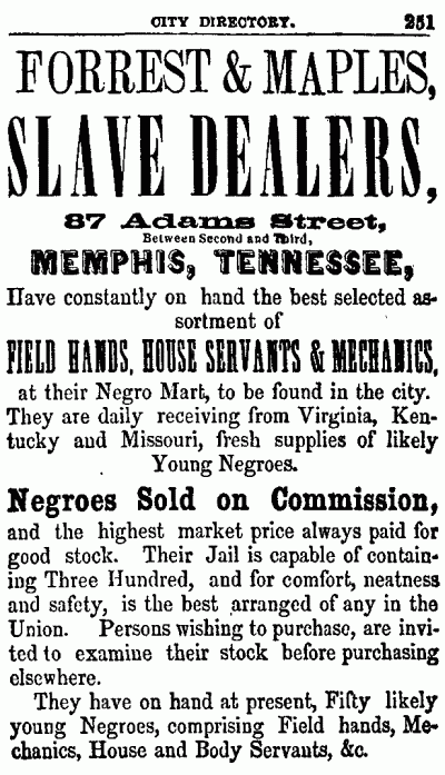 An advertisement for Forrest's Slave-yard in the Memphis city directory, 1855.