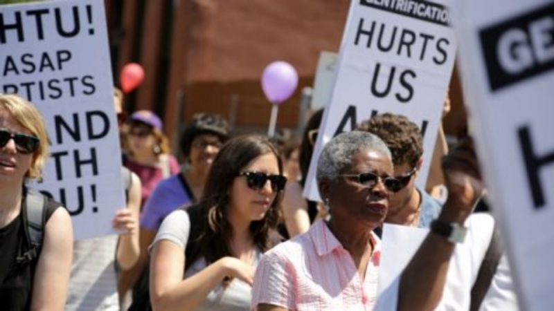 ASAP members support the Crown Heights Tenant Union Rally , Brooklyn, June 7th 2014.
