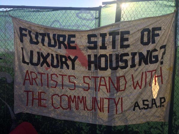 Photo of ASAP banner at the Rheingold Factory Protest, from  @mmottel on Twitter, via Brownstoner.