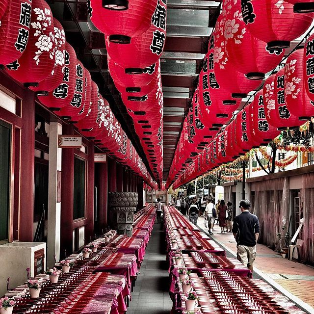 "Holiday time with my mum! Singapore has been an amazing place to visit - this photo from mum @nolakphotos is amazing. Outside the Buddha Tooth Relic Temple was this set up for dinner - not sure who it was made up for, as our amazing guide @kaz1113 told us that is was the festival for ""the hungry ghost"" this month!  We however have found many places to eat his week - no ghosts 👻"