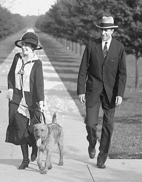 """President Coolidge and his Airedale """"Paul"""""""