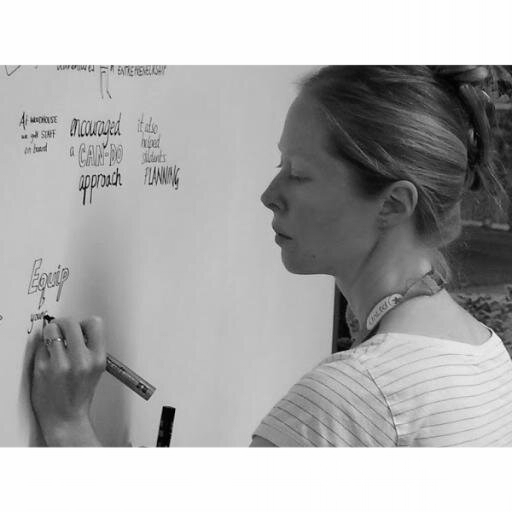 Sandra Howgate - Originally trained in Theatre Design at Central St Martins, London, Sandra has been working as a professional illustrator since 2003.Sandra uses hand drawn words and images to record live events for Realise. This has many different applications and is most useful in service to a group, it could be a strategy meetings to brainstorming solutions to tough problems, group gain valuable insights.Sandra is a member of the 'Association of Illustrators' and the 'International Forum for Visual Practitioners'.