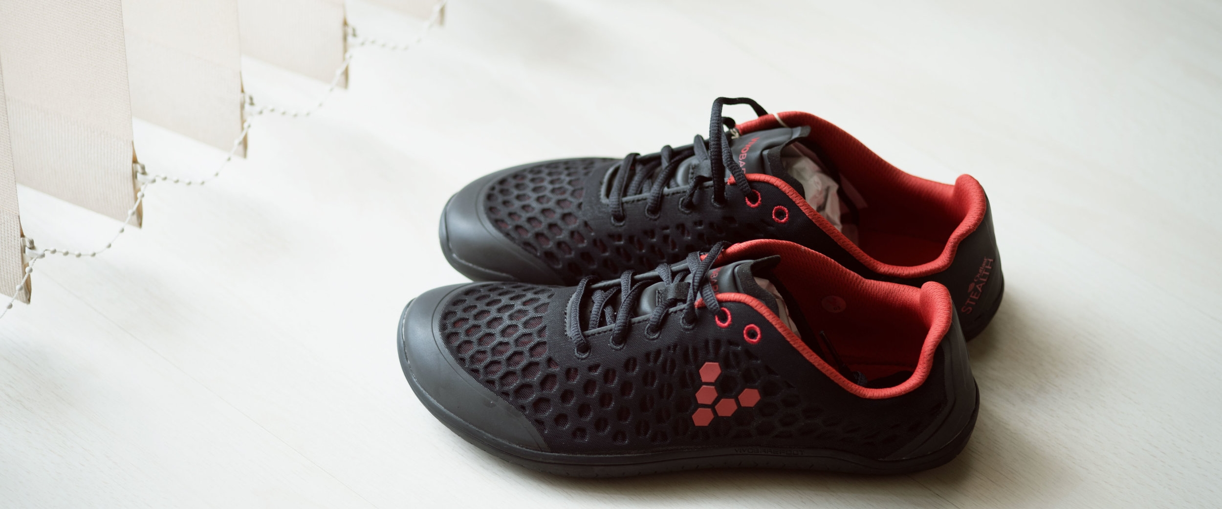 Vivobarefoot Stealth II Black Red Womens Mesh Running Outlast Trainers