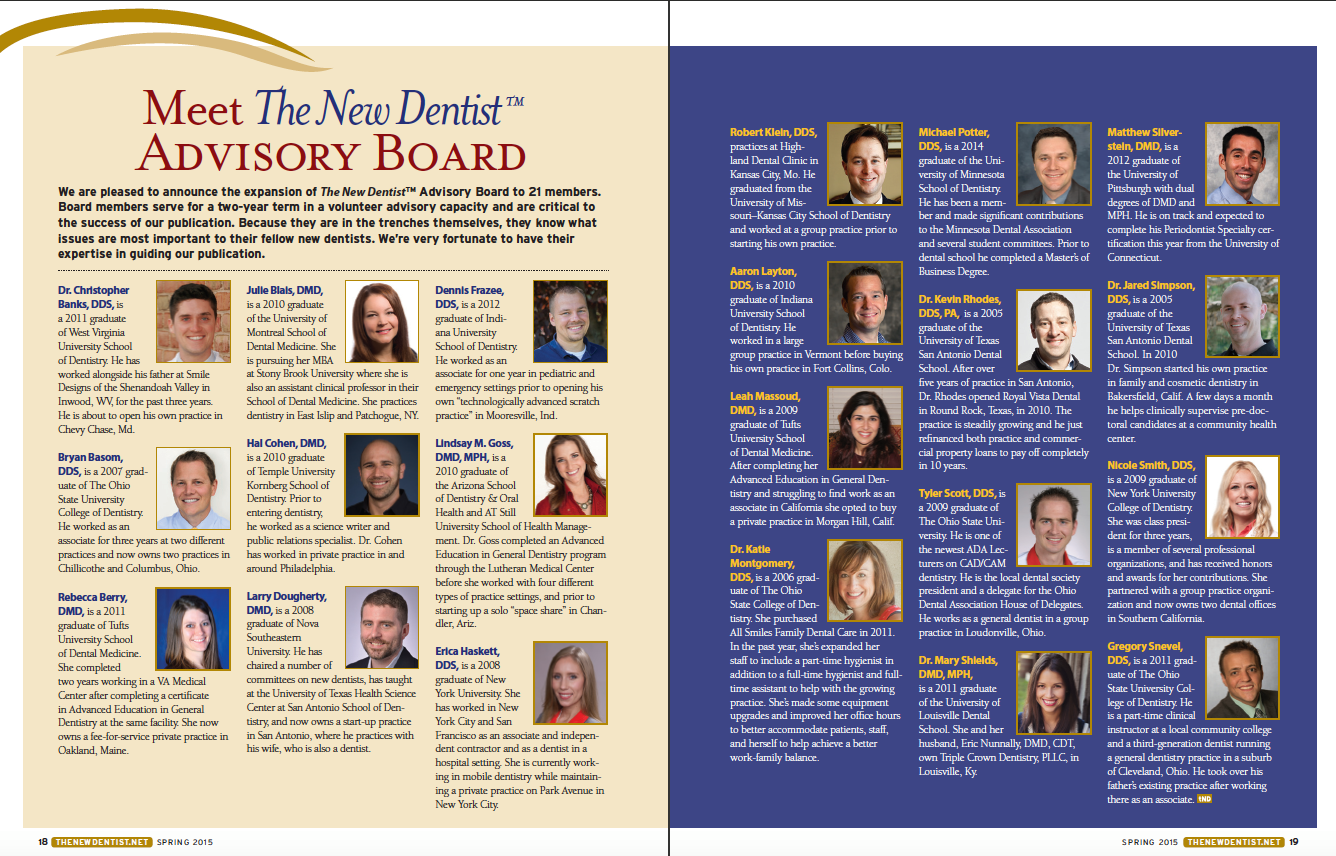 new dentist advisory board