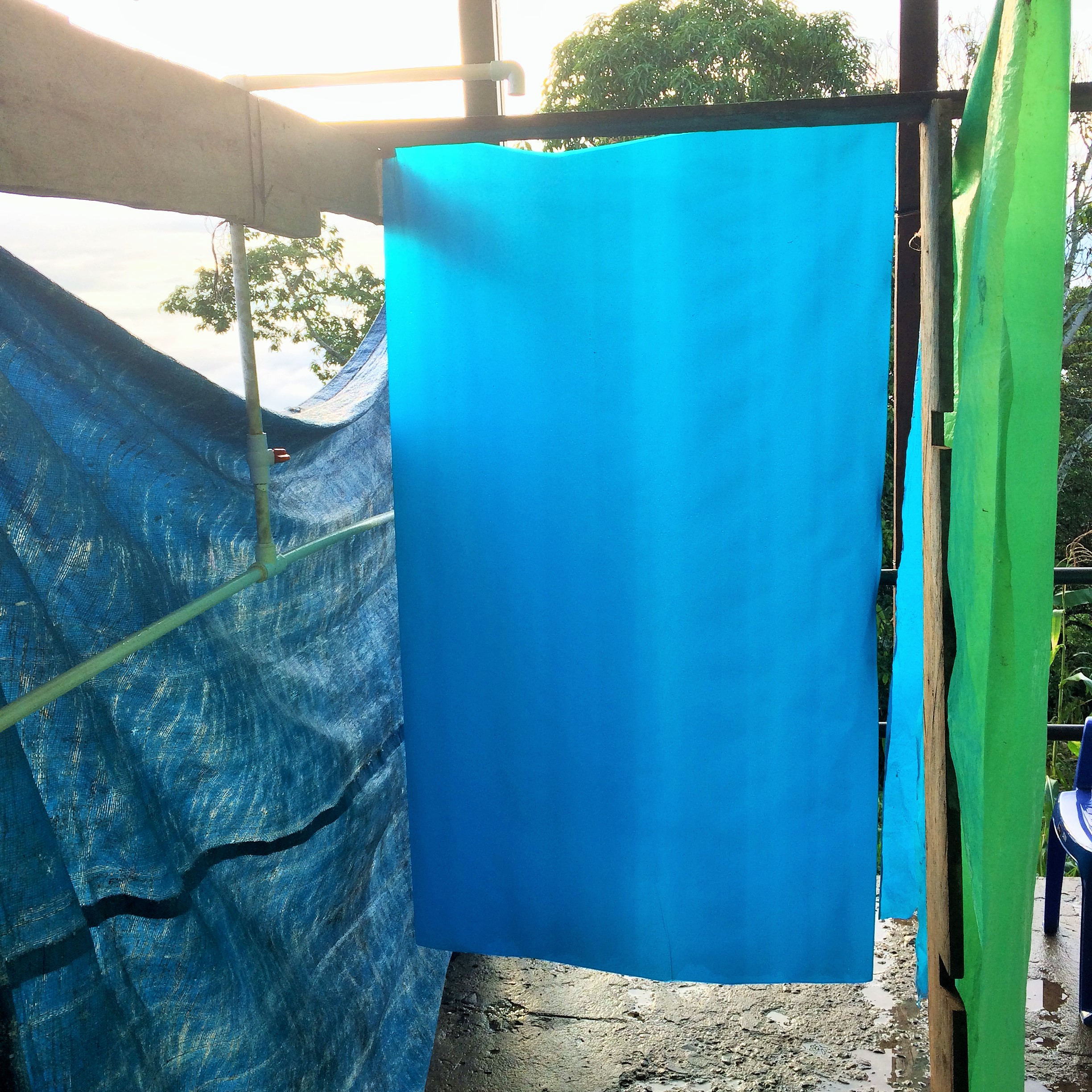 More Honduran innovation! The residents made this outdoor shower out of PVC pipe and tarps especially for the  Medico  Team.