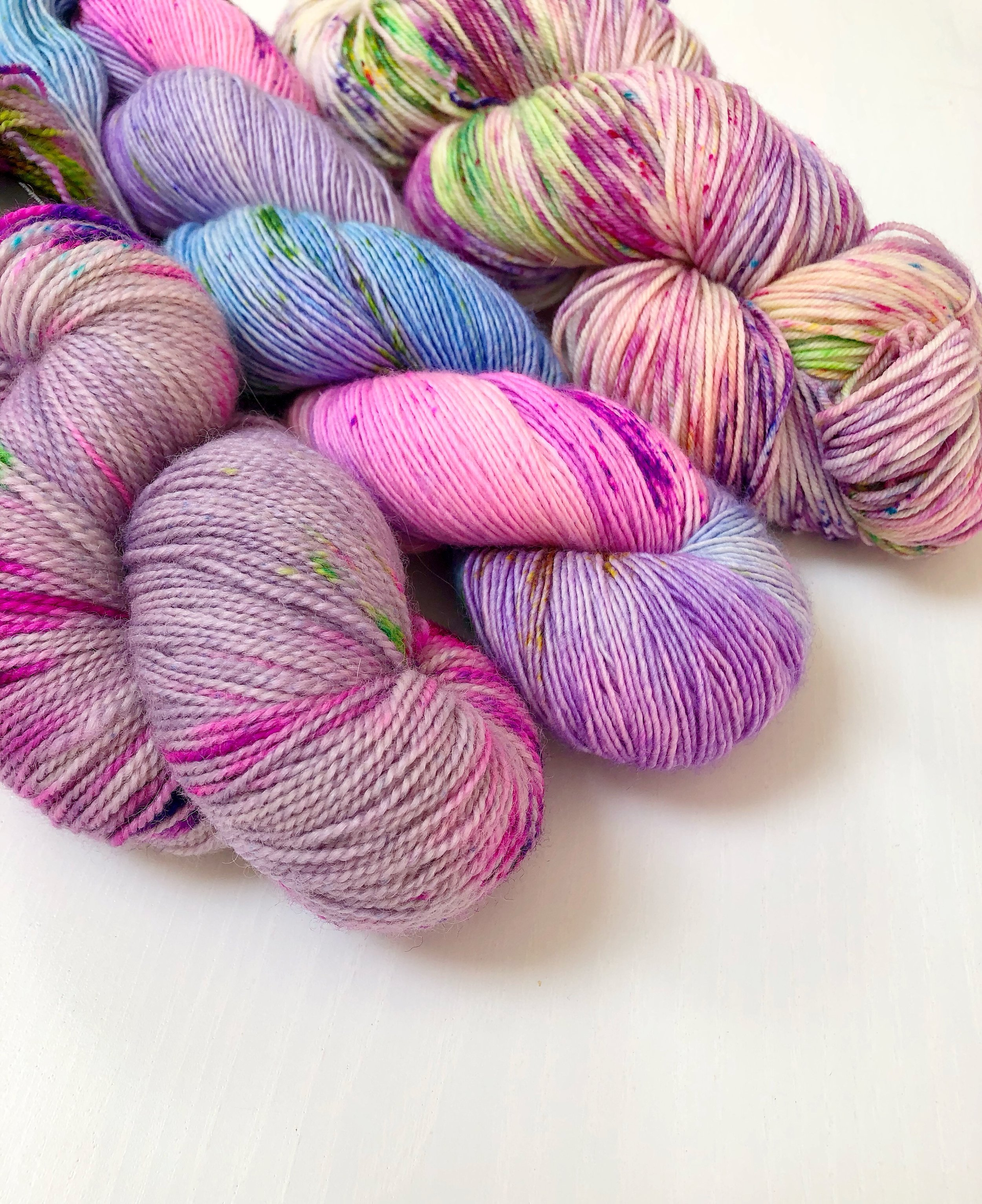 the winners will get to choose one of these skeins of 4ply sock yarn; l-r Ritual, Pixie Dust and Cerinthe