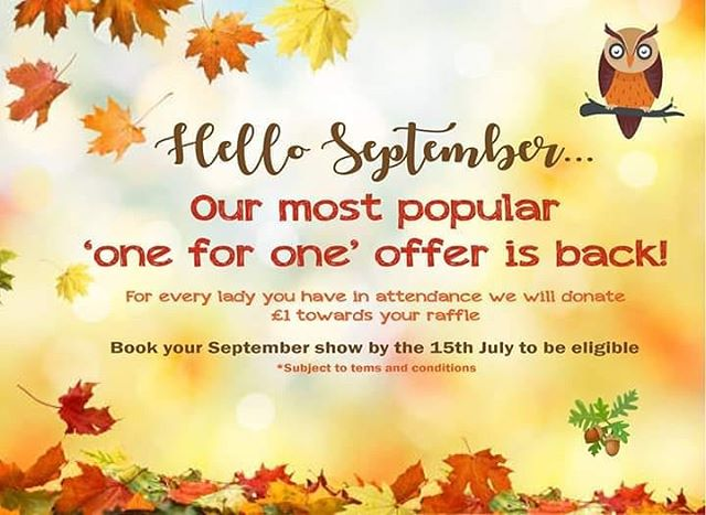 Our popular 'ONE FOR ONE' offer is back! 🍁🦉🦔🍂 Book a September show and we will donate £1 for every lady you have in attendance! for e.g. 100 ladies = £100 worth of gift vouchers towards your raffle! 😊  Terms and conditions apply.  To find out more or to book a show please contact 0161 303 0463 or email, info@coloursfashionshows.com  You can also download an information pack from: http://www.coloursfashionshows.com/charity