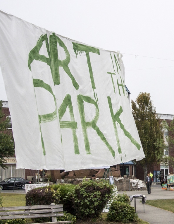 "The ""Art in the Park"" Banner in Piermont, NY in Flywheel Park."