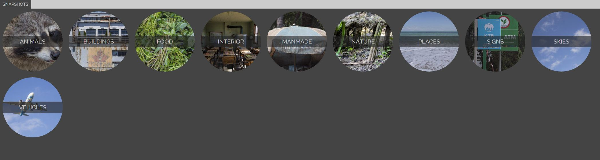 Circular category navigation eludes to circular iconography throughout the site.