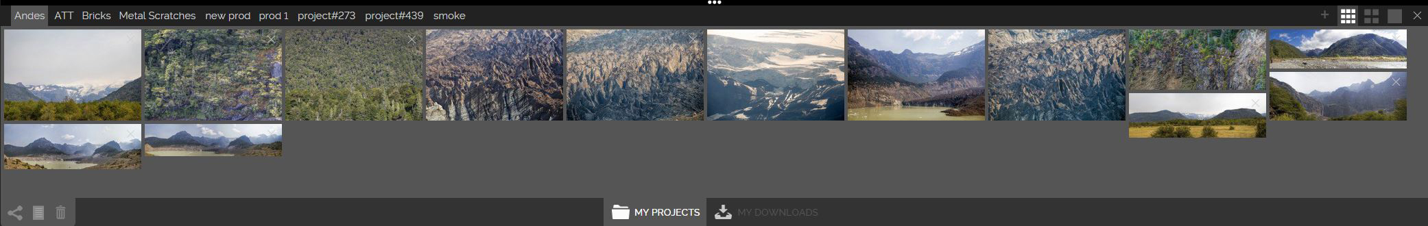 Lightbox with tabbed projects along the top. Each project is shareable. Users also have the ability to switch to the downloads tab and view their image download history with filters by date and image category.